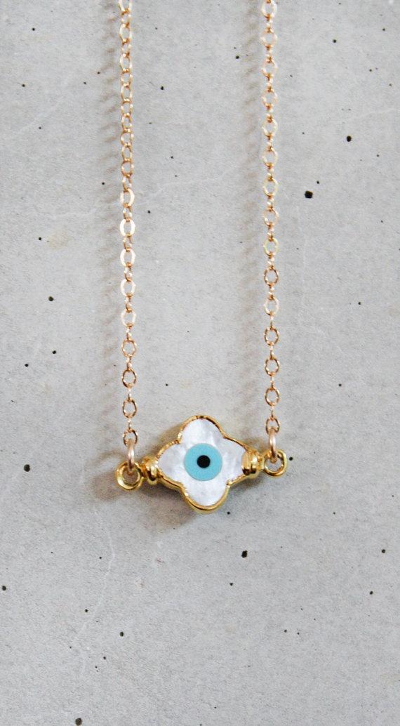 evil eye clover necklace