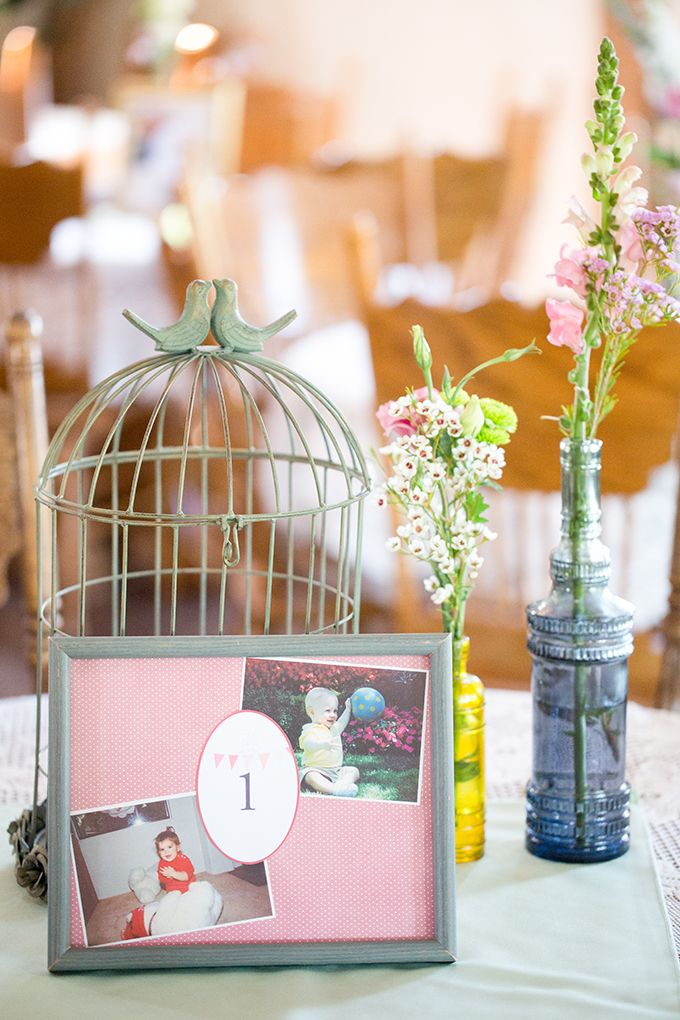 sweet vintage wedding centerpiece and table numbers ~  we ❤ this! moncheribridals.com