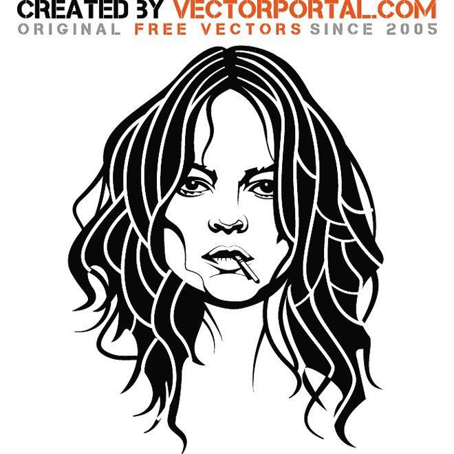 Girl smoking cigarette vector image.