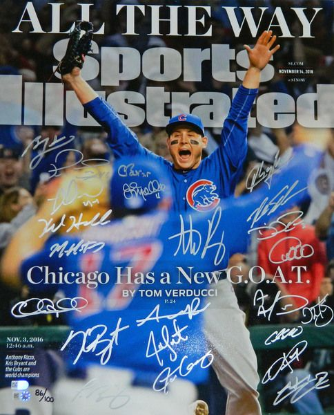2016 Chicago Cubs Team Signed Chicago Cubs 2016 World Series Anthony Rizzo Sports Illustrated Cover 16x20 Photo - MLB & Fanatics COA