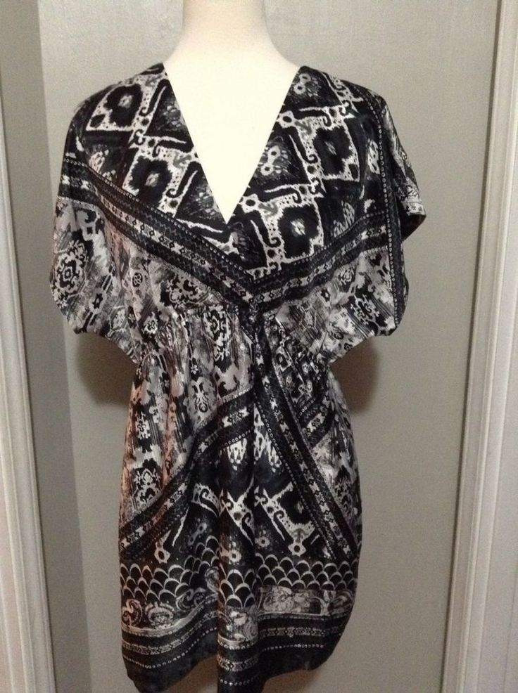 Ny Collection Satin Aztec faux wrap greek mythology gray scale tunic Top dress L #NYCollection #Tunic #EveningOccasion