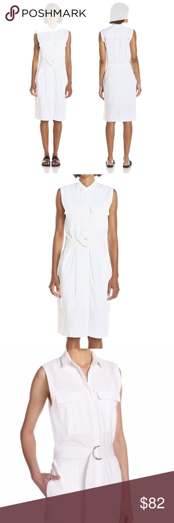 Helmut Lang Washed Bellow Poplin Shirt Dress White HELMUT LANG OPTIC WHITE WASHED BELLOW POPLIN BELTED SHIRT DRESS. NWT.  Spread collar; placket front; sleeveless. Bellow pockets at chest; patch pockets at hip. Belted, elasticized waist. Side slits at hem. Dry clean Cotton/spandex. Helmut Lang Dresses