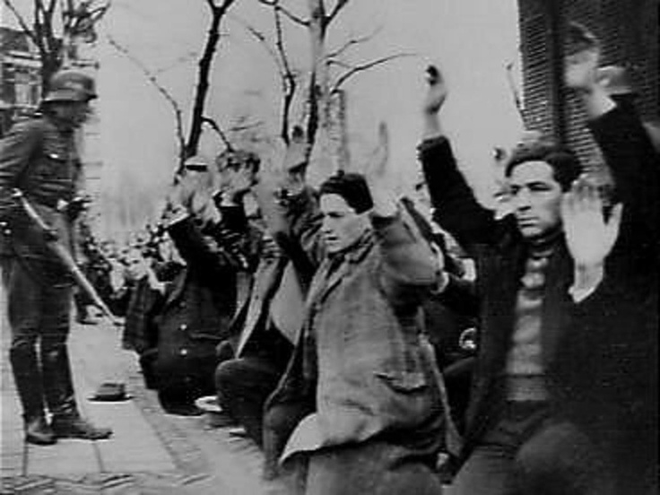 'Razzia' in Amsterdam, The Netherlands. Jews are being arrested and deported. February 22nd, 1942.