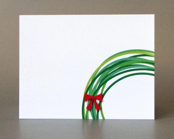 Christmas cards - replicate by dipping the rim of a mug/cookie cutter in different shades of green paint and add red ribbon.