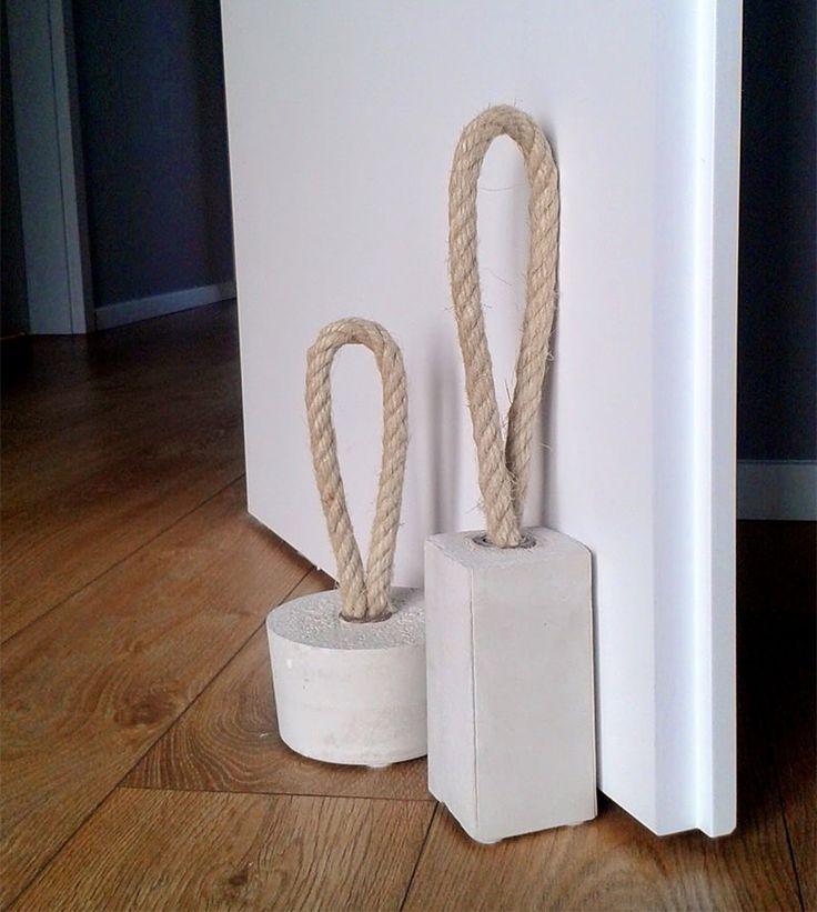 DIY: charmoso peso de porta feito de corda e concreto - limaonagua
