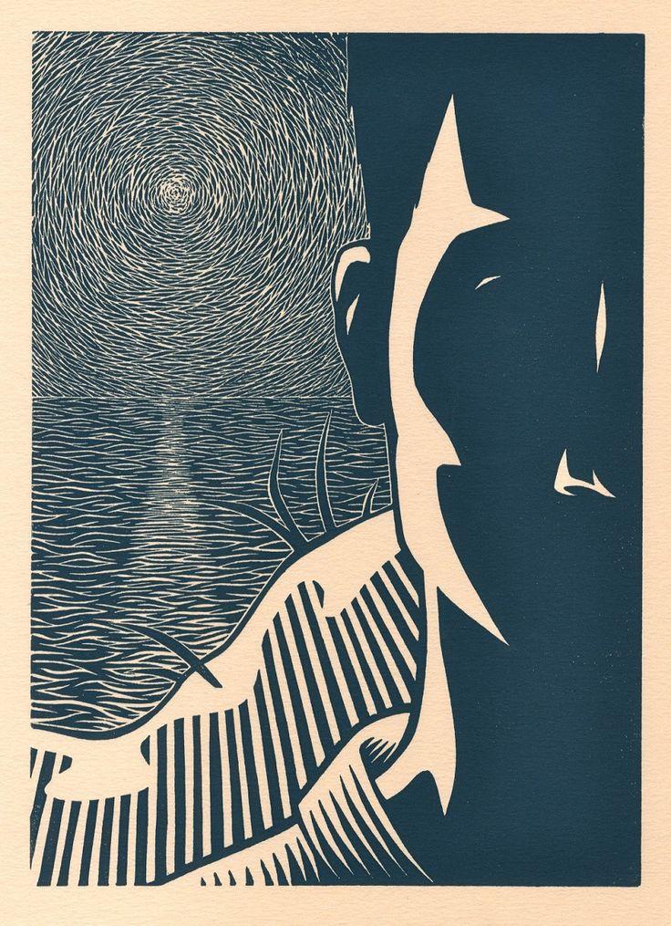 Darrel Perkins ~ The Outsider, 2010 (linocut)