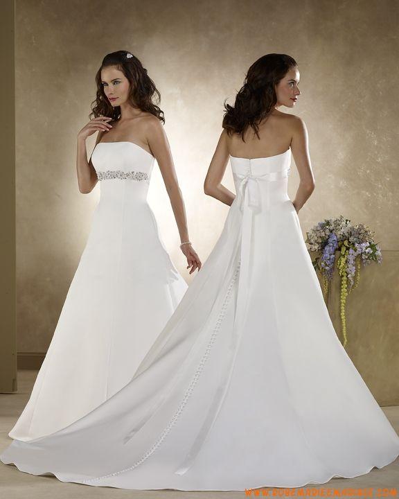 Robe A-ligne en satin ornée de perles et d'un ruban robe de mariée avec traîne