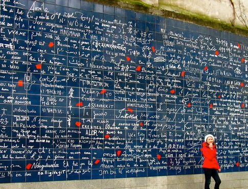 Wall of Love in Monmartre.  I love you written in every known language.  I've been here and it's a lovely sight.