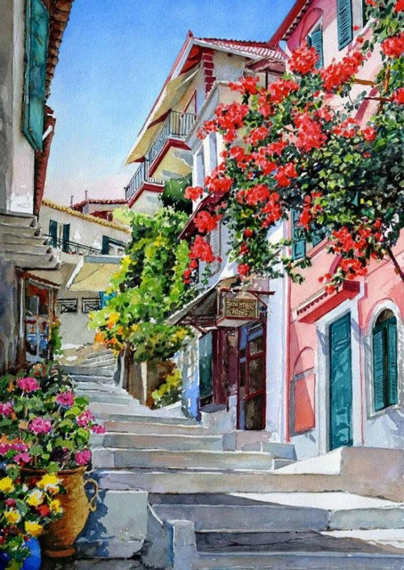 Plaka, watercolour painting by P. Zografos something like this would look great in the kitchen
