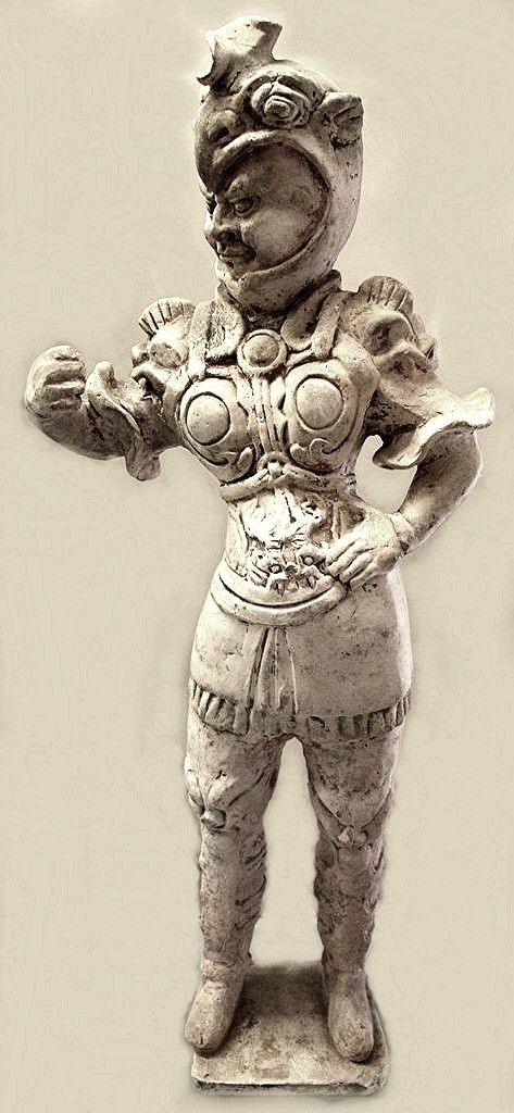 Helmet and space suit?  Found in a Tomb (Wushi Yong), terracotta sculpture, Tang Dynasty- China