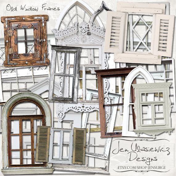 Old Window Frames digital scrapbooking graphics / clipart / altered art / mixed media collage / instant download / printable