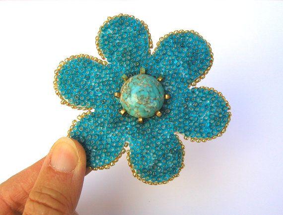 OOAK Mixed Media Flower Magnet by MarysPoshDoggieDiner on Etsy