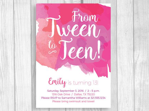 Custom Printable 4x6 Or 5x7 Tween To Teen Girls 13th Thirteen Party Birthday Invitation