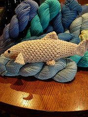This Amigurumi-style fish was inspired by the plucky salmon that pass through Ballard's Chittenden Locks every summer and fall. As the salmon are in short supply this year, rather than catching one, crochet one! Blue Sky Cotton is an environmentally sound choice, too; the yarn is made from organic cotton that comes in a rainbow of brightly dyed colors as well as naturally grown shades.