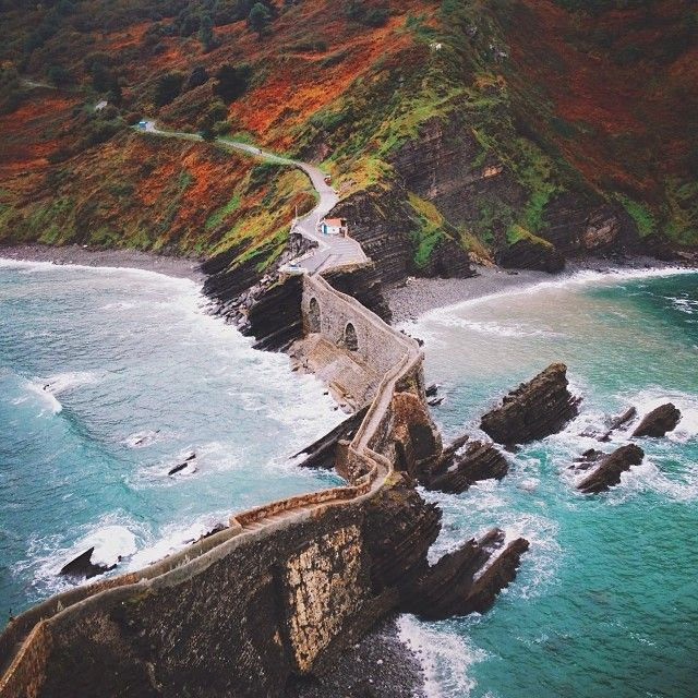 The steps to San Juan de Gaztelugatxe, a hermitage on an islet on the Basque coast of the Bay of Biscay in Spain.