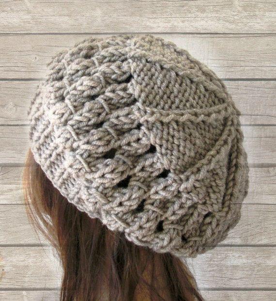 School Girl Knit Hat  Beehive beret  in  Oatmeal beige  by Ebruk, $30.00