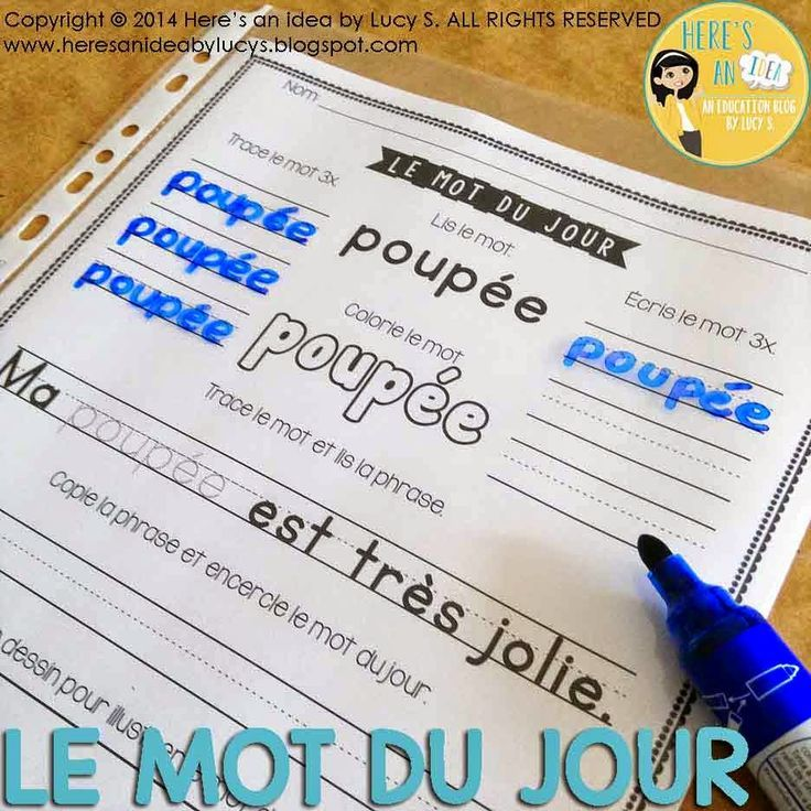 Le Mot du Jour - Volume 2 - insert the worksheets into page protectors: save on paper and ink