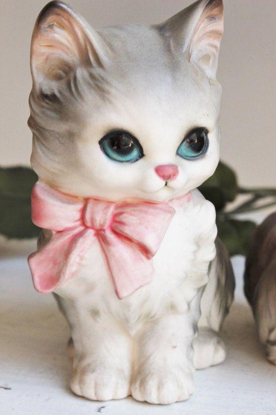 Vintage 1960s Cat Figurines / Pair of Josef Original Ceramic Collectible Kittens…