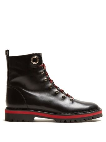 Hiker tread-sole leather ankle boots
