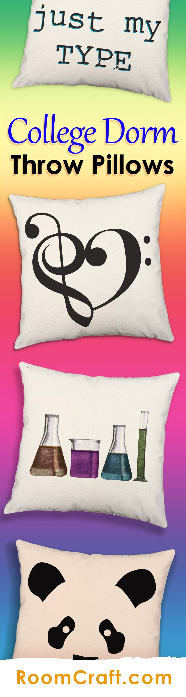 Add these adorable throw pillows to your new dorm room for a pop of color and inspiration! All of our designs are offered in multiple colors, sizes and fabrics making them perfect for your dorm bed. These fun pillow covers are made to order in the USA and feature 3 wooden buttons on the back for closure. Choose your favorite and create a truly unique pillow set! #roomcraft