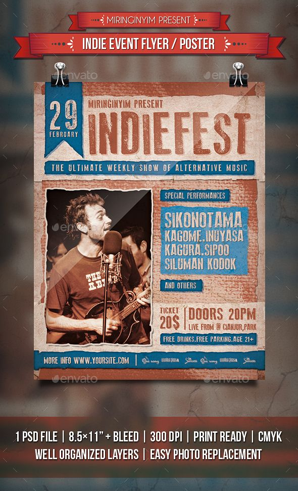 Indie Event Flyer / Poster Template PSD
