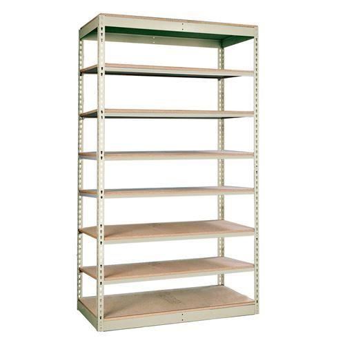 "Hallowell SRS481884-8AP Rivetwell 48""W x 18""D x 84""H 8 Levels Add-on Unit Single Rivet Boltless Shelving in Parchment Decking Not Included"