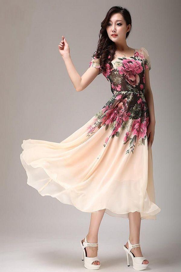 tea+length+sleeves | Pink floral chiffon dress tea length dress with short sleeves