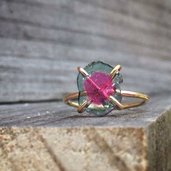 Tourmaline ring/ watermelon tourmaline slice gold filled ring/ October birthstone/ October gift/ size 6.25