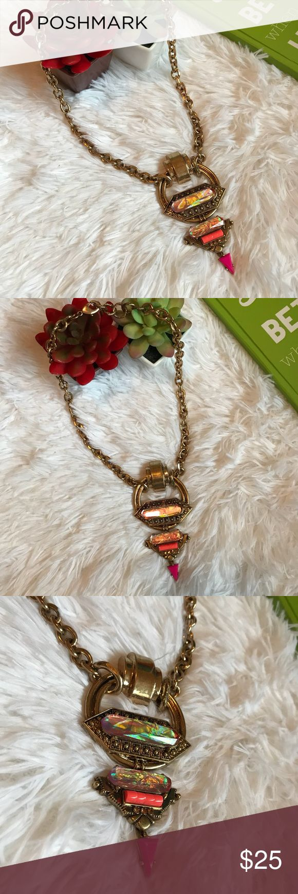 """Just In 💓 Gold Chunky Opal Statement Necklace 💓 New Boutique Chunky Gold necklace with round pendant and Pink opal and orange details. Great quality Jewelry. Approx 19""""-20"""" 💥Bundle & Save💥 Jewelry Necklaces #GoldJewelleryChunky"""