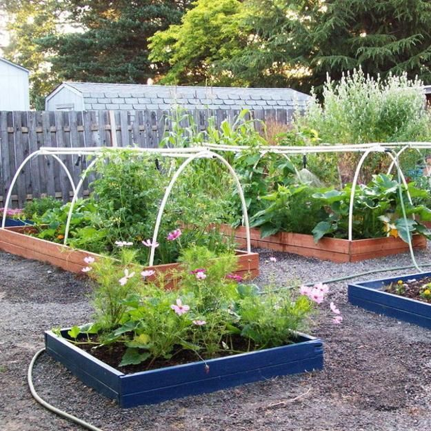 raised bed garden design with flowers, backyard landscaping ideas