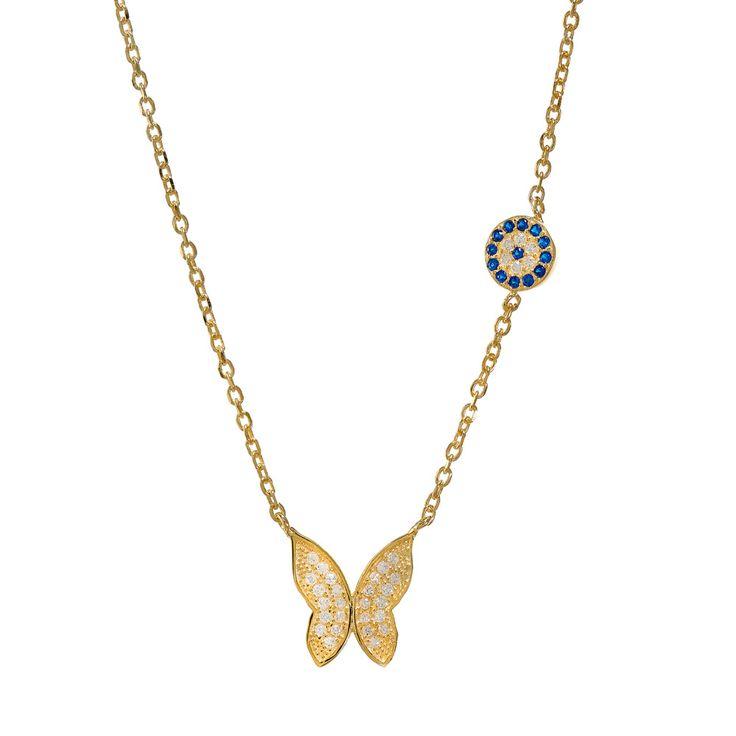 Μενταγιόν : Μενταγιόν Πεταλούδα Από Ασήμι 925 Gold με λευκά και μπλε Ζιργκόν