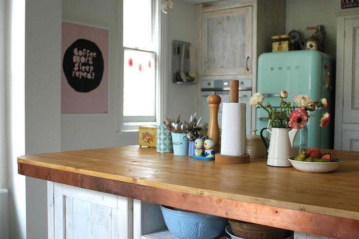 Copper edged kitchen counters - great budget kitchen worktop option