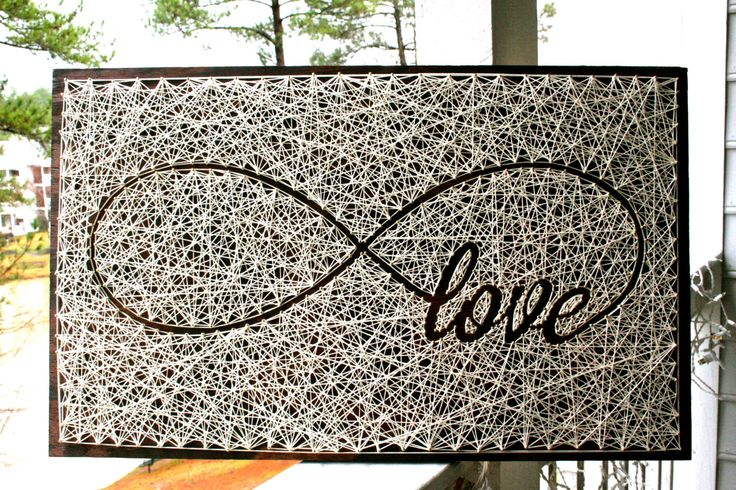 """26""""x16"""" Infinity Love Sign String Art   Love String Art   5th Wedding Anniversary   5th Anniversary Gift   by DistantRealms on Etsy https://www.etsy.com/ca/listing/255095899/26x16-infinity-love-sign-string-art-love"""