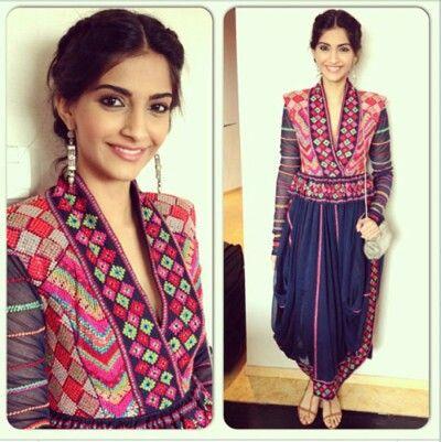 Sonam Kapoor wearing a phulkari dress