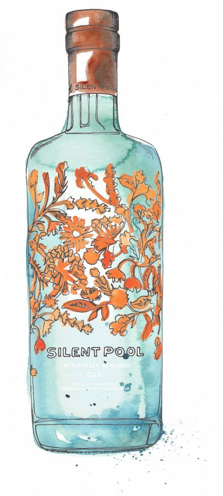 Silent Pool Gin Bottle Watercolour Illustration. Click the 'visit' link to commission your own choice of gin illustrations