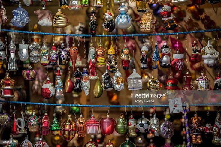 CZ Christmas decorations are display for sale at the Christmas market at the Old Town Square on November 28, 2016 in Prague, Czech Republic. Christmas markets, traditionally selling mulled wine, roasted chestnuts, hot mead, and Christmas tree decorations amongst other products opened across the Czech Republic during the first Advent weekend.