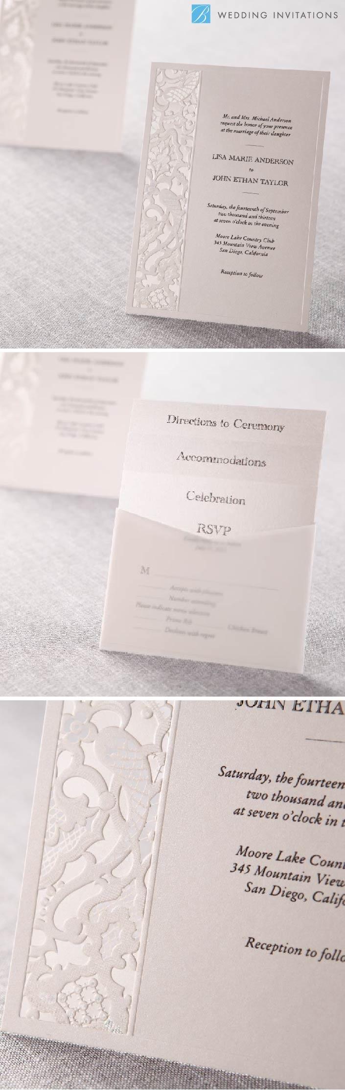 laser cut wedding invites canada%0A Elegant Laser Cut by B Wedding Invitations  weddinginvitations  invitations   wedding  whiteinvitations