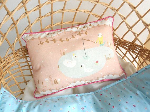 Nordic nursery pillow swans lake  Baby pillow  Decorative