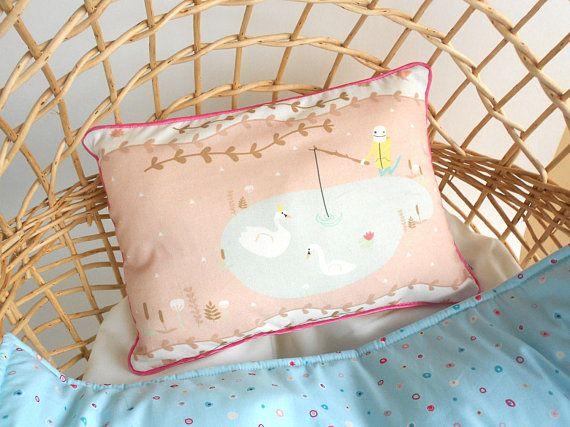 Nordic nursery pillow swans lake  Baby pillow  Decorative