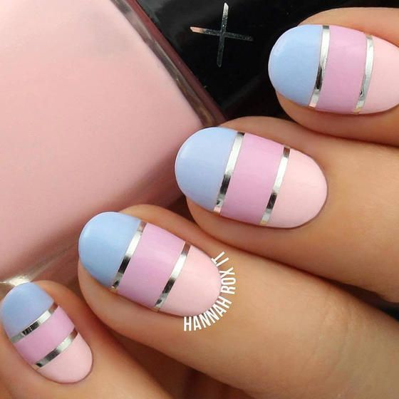 If you're a color blocking fan, this chrome and pastel nail design was made for you.