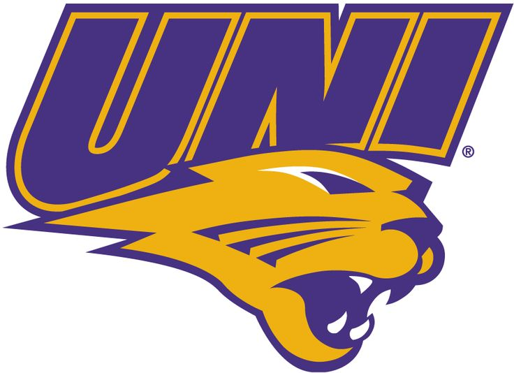 Northern Iowa Panthers Primary Logo (2002) - UNI in purple over yellow Panther's head