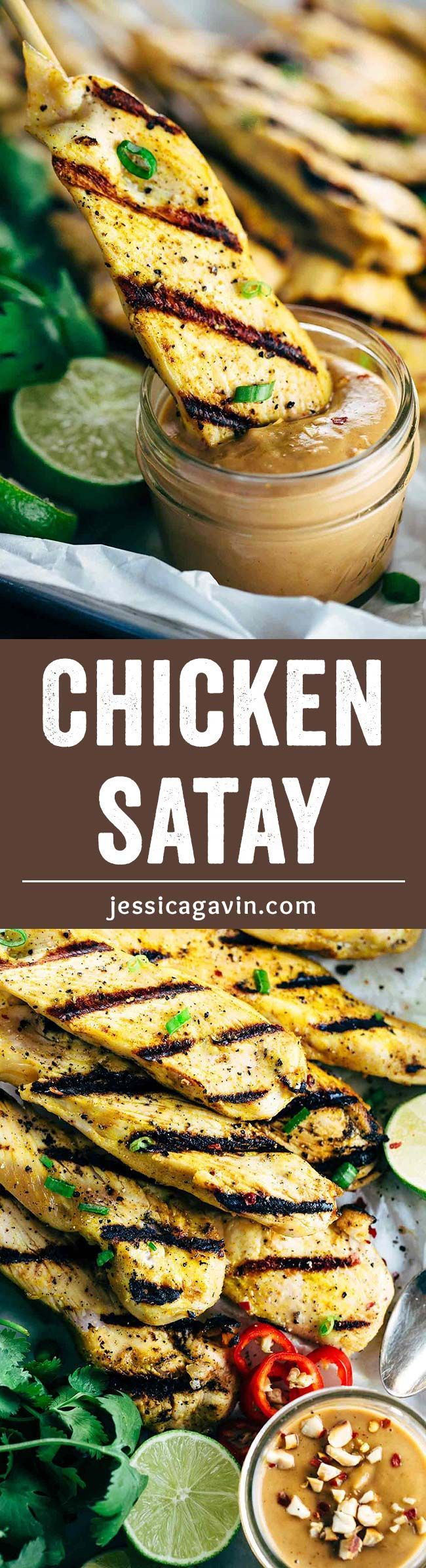 Coconut Curry Chicken Satay with Peanut Sauce - Thai inspired flavors are infused into each bite of tender grilled chicken. | jessicagavin.com