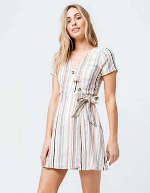 c5d25b66e6 SKY AND SPARROW Stripe Button Front Wrap Dress | clothing in 2019 ...