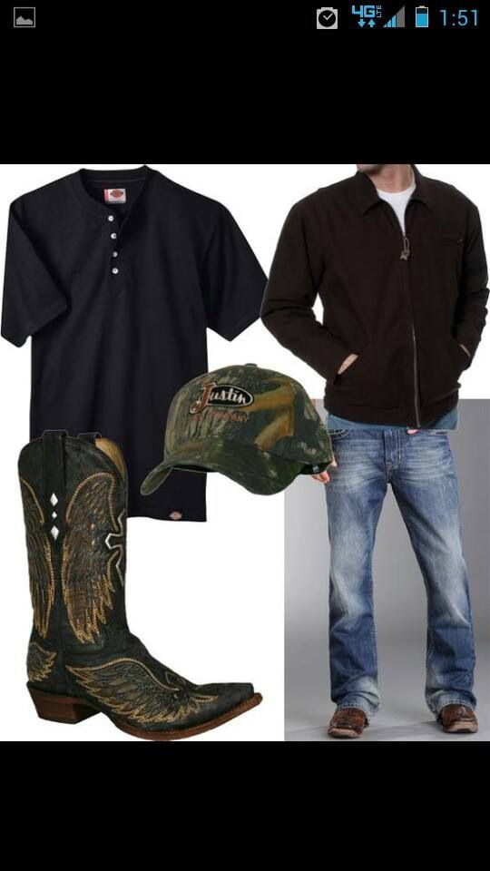 Men's Country Style #cowboy #fashion At Eagle Ages we love cowboy boots. You can find a great choice of second hands & vintage cowboy boots in our store. https://eagleages.com/shoes/boots/men-boots/cowboy-boots.html