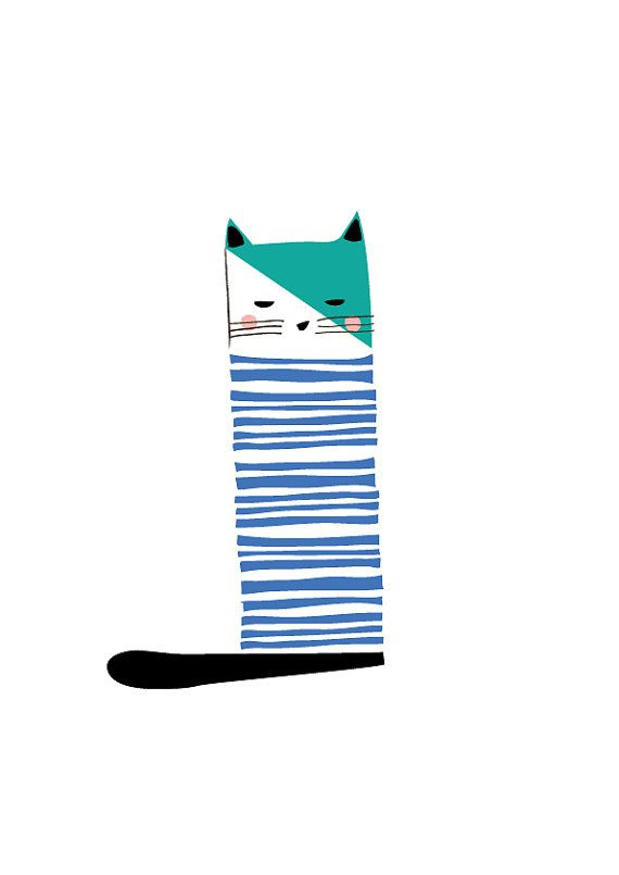 Cat Art Print Animal Illustration Drawing by dekanimal on Etsy