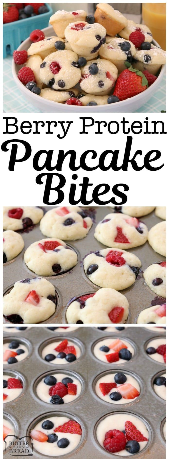 Berry Protein Pancake Bites made easy by baking protein pancake batter in the oven with fresh blueberries, raspberries and strawberries. Dust with powdered sugar or drizzle with syrup for a delicious, satisfying breakfast. #Pancakes #breakfast #dinner #berries #protein Butter With A Side of Bread