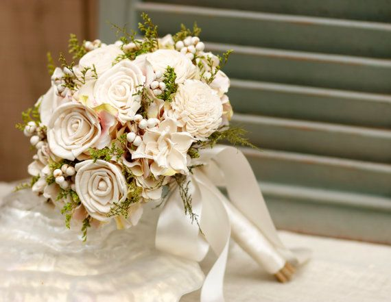 Natural Sola Roses Gardenia Bride Bouquet Wedding by WillowGardens