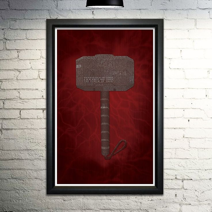 """Thor word art print, 11x17. This print is made entirely out of words! The image shows Mjolnir formed with quotes from the original Thor movie. When you purchase this print, you'll be finding more of your favorite quotes and scenes for hours. This is an 11x17"""" image printed on archival quality paper. Please note this is a print only, unframed."""
