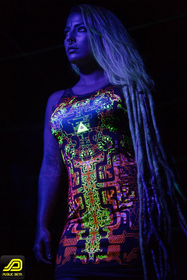Maze of Ra Dress by Public Beta Wear  Blacklight reactive hightech style clothing. Festivalfashion, partywear.  Photo by Murilo Ganesh, Model: Mariana Jeveaux #blacklightclothing #publicbetawear #festivalfashion #shopbitcoin #psychedelic #ozorafestival #boomfestival #burningman