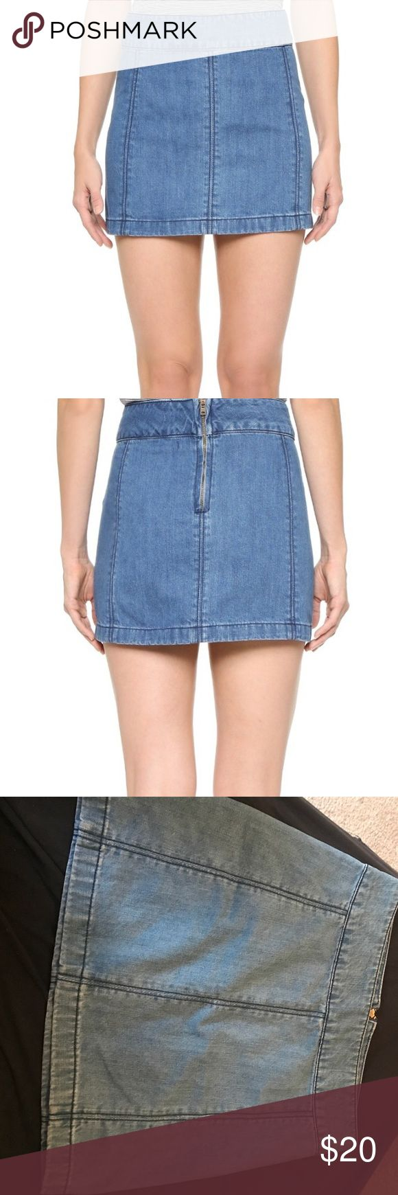 Free people denim zip up skirt. Free People denim zip up skirt. Size 6. Looks awesome on! Only worn a few times with absolutely no signs of wear. Perfect condition. Free People Skirts